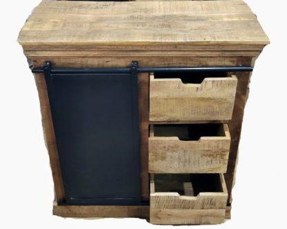 Mangohout ladekast met 3 laden en afgewerkt met zwart staal - mango meubelen - skonhout